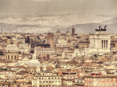 Poster Panoramic view of Rome on the background of mountains. Retro toned photo