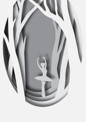 Poster Paper art carving of ballerina