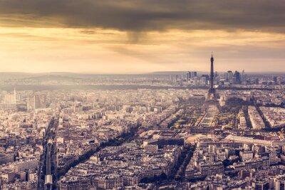 Poster Paris, France skyline at sunset. Eiffel Tower in romantic golden light