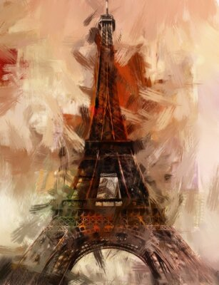 Poster Paris Gemälde Eiffelturm Eifelturm Bild Kunst Ölgemälde
