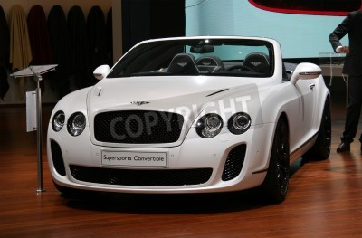 Poster PARIS - OCTOBER 11: Bentley Continental Supersports Convertible is displayed at the Paris Motor Show 2010 at Porte de Versailles, on October 11, 2010 in Paris, France