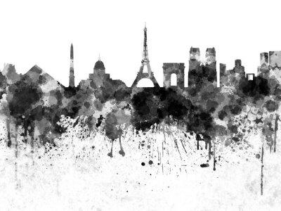 Poster Paris skyline in black watercolor