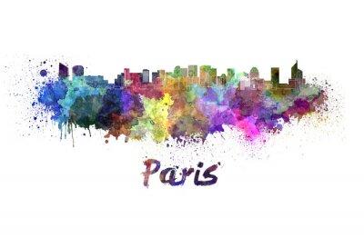 Poster Paris V2 skyline in watercolor