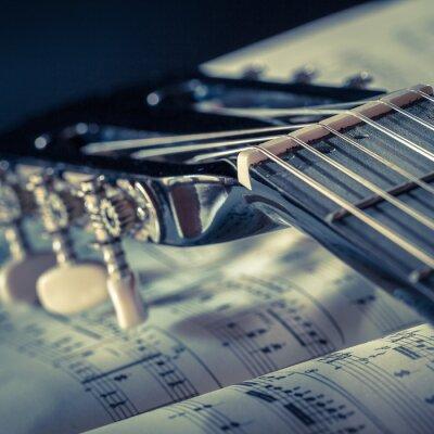 Poster particolare di chitarra con spartito