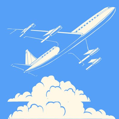 Poster Passenger airplane in the clouds retro background