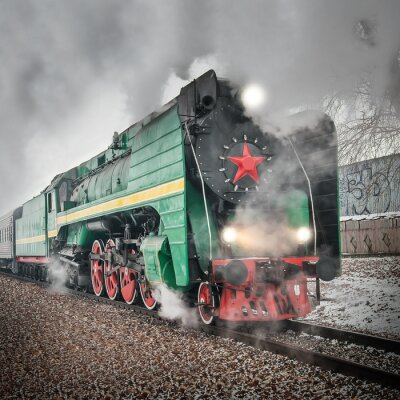 Poster Passenger retro steam train goes fast.