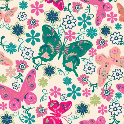 Poster pattern of butterflies and flowers- illustration