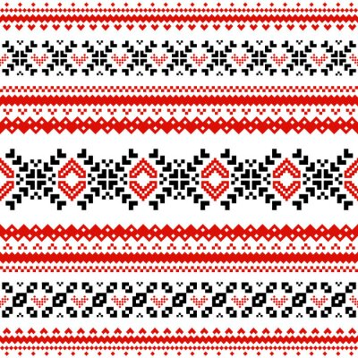Poster Pattern with lines of scandinavian hearts