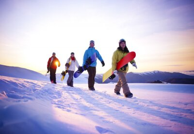 Poster People On Their Way To Snow Boarding