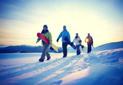 Poster People Snowboard Winter Sport Friendship Concept