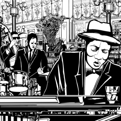 Poster piano-Jazz band in a restaurant