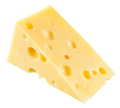 Poster Piece of cheese isolated. With clipping path.