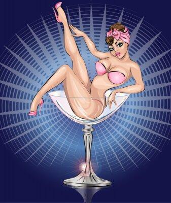 Poster Pin Up sexy girl wearing pink bikini in Martini glass