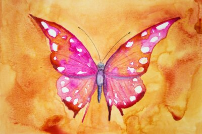 Poster Pink butterfly with orange background. The dabbing technique gives a soft focus effect due to the altered surface roughness of the paper.