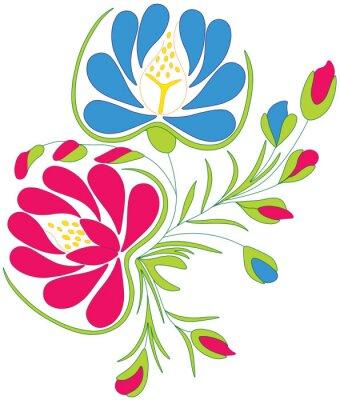 Poster Piwonie - haft polski