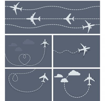 Poster Plane flight - dotted trace of the airplane, heart-shaped and lo