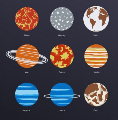 Poster Planets icons on dark background