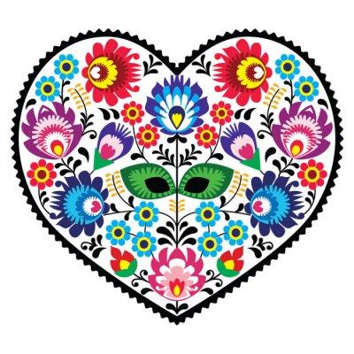 Poster Polish folk art art heart with flowers - wzory lowickie