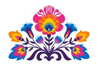 Poster Polish folk inspired flowers