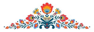 Poster Polish folk papercut style flowers