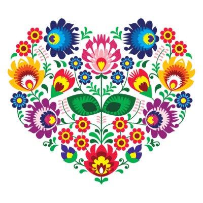 Poster Polish olk art art heart embroidery  - wzory lowickie