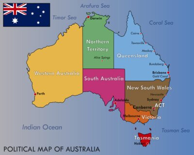 Poster Political Map of Australia