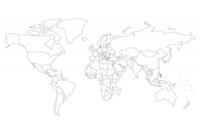 Poster Political map of World with dots instead of small states. Blank map for school quiz. Simplified black thin outline on white background.