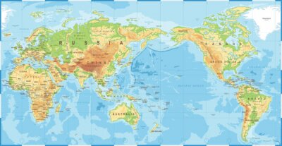 Poster Political Physical Topographic Colored World Map Pacific Centered