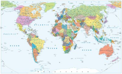 Poster Political World Map - borders, countries and cities