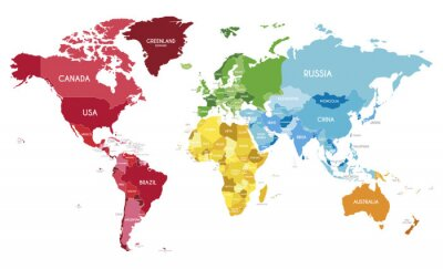 Poster Political World Map vector illustration with different colors for each continent and different tones for each country. Editable and clearly labeled layers.