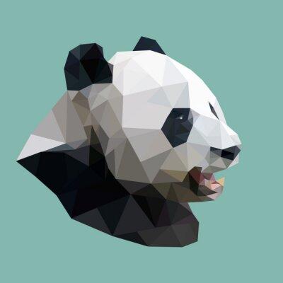 Poster polygonal panda, polygon abstract geometric animal, vector illus