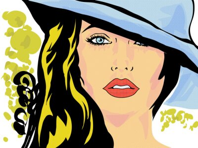Poster pop art femme chapeau visage,tête