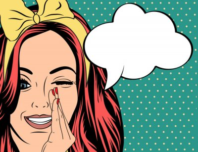 Poster Pop Art illustration of girl with the speech bubble