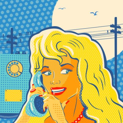 Poster Pop Art Style Girl With Phone