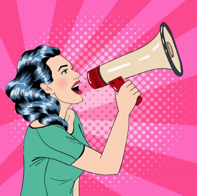 Poster Pop Art Style Woman with Megaphone
