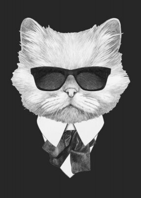 Poster Portrait of Persian Cat in suit. Hand-drawn illustration. Vector isolated elements.