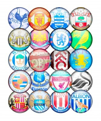 Poster Premier League Teams 2012/13: Colors and badges of English Football Clubs