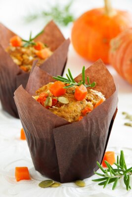 Poster Pumpkin muffins with rosemary and seeds.