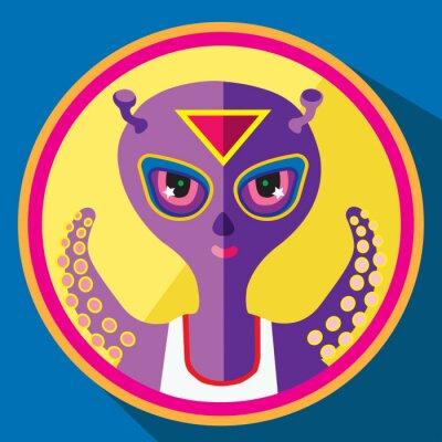 Poster purple alien vector flat illustration