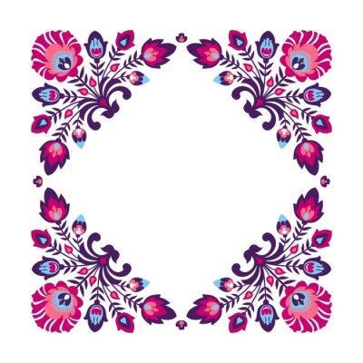 Poster Purple folk floral frame