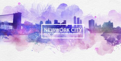 Poster Purple New York City Dreams Postcard Painting