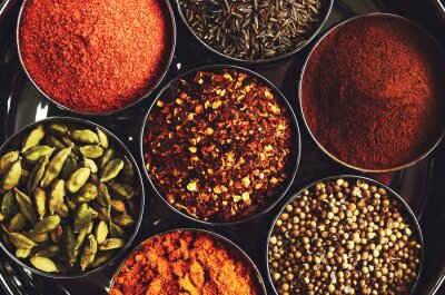 Poster Rack with traditional indian spices for cooking - cardamom, turmeric, cumin, coriander seeds, cinnamon and chili