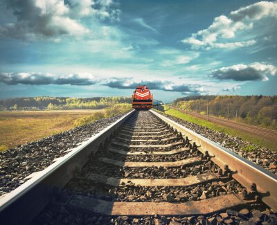 Poster Railroad with a freight train