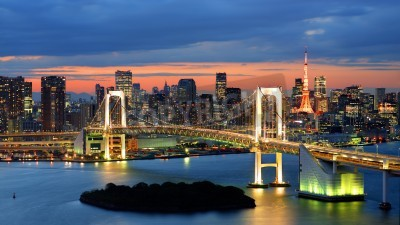 Poster Rainbow Bridge spanning Tokyo Bay with Tokyo Tower visible in the background.