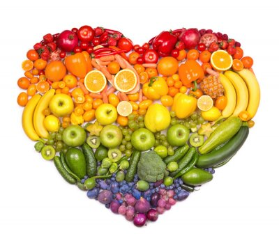 Poster Rainbow heart of fruits and vegetables