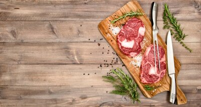 Poster Raw meat beef Steak with herbs and spices