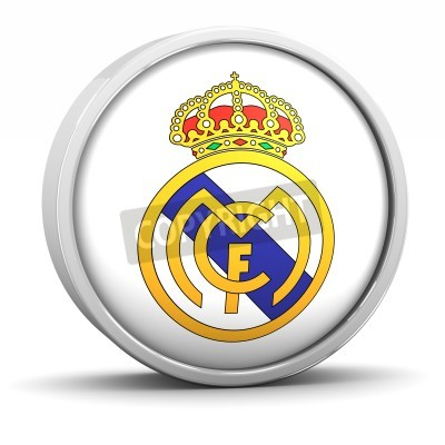 Poster Real Madrid logo with circular metal frame. Part of a series.