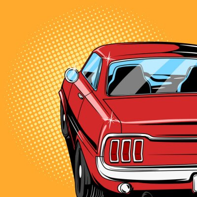Poster Red car comic book style vector