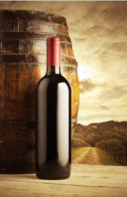 Poster red wine bottle