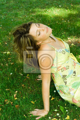 relaxed in meadow